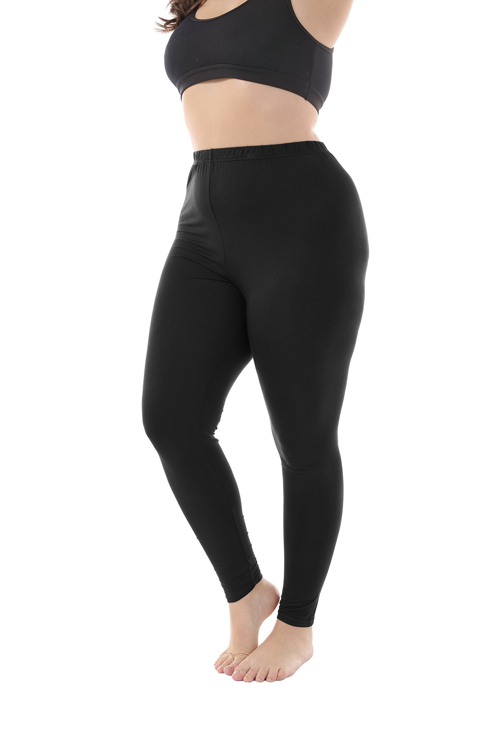 Zerdocean Women's Plus Size Modal Lightweight Full Length Leggings Black 3X