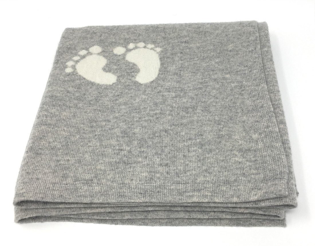 "effe bebe Cashmere and Merino Wool Blend Baby Blanket 30""x40"" Classic Grey"