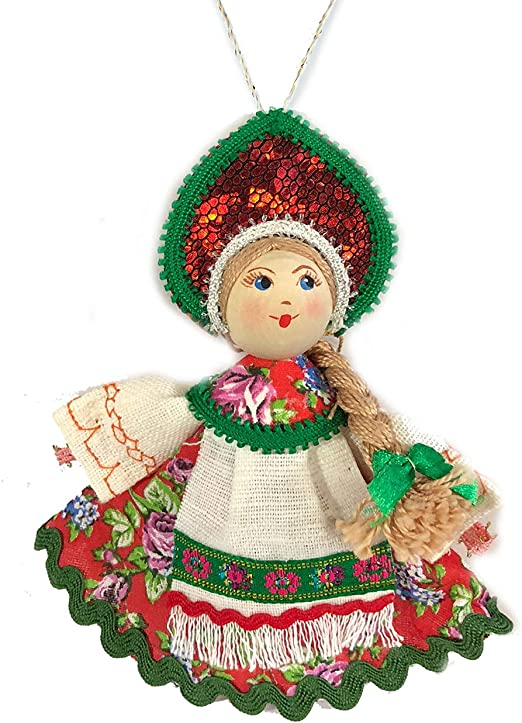 Russian hand carved/&painted wood ornament doll