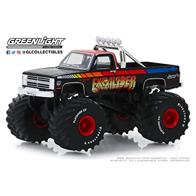 Greenlight 1:64 Kings of Crunch Series 5 - Excaliber - 1987 Chevrolet K20 Silverado Monster Truck 49050-E: Toys & Games