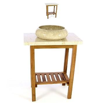 Waschtisch Teak Holz mit Platte und Waschbecken Marmor creme ... | {Badezimmermöbel teakholz 34}