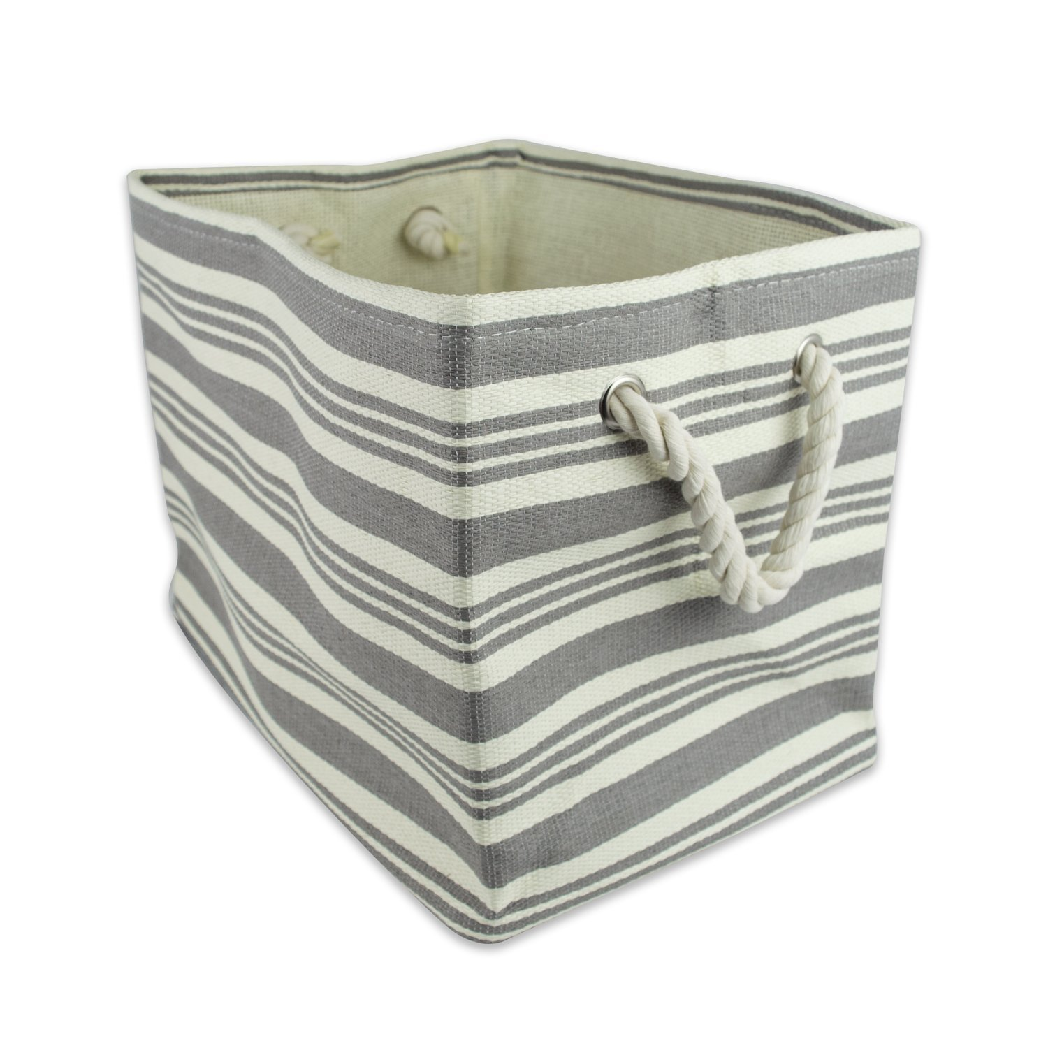 DII Woven Paper Storage Basket or Bin, Collapsible & Convenient Home Organization Solution for Office, Bedroom, Closet, Toys, & Laundry (Large - 17x12x12�), Gray Urban Stripe