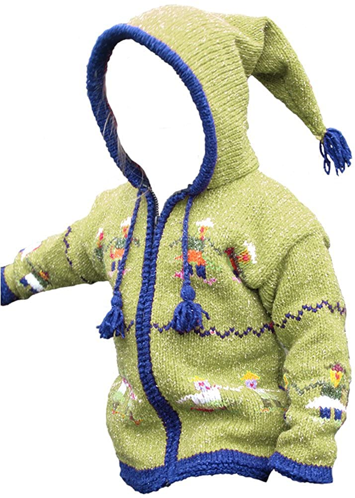Green-Yellow Kid's Pointy Hooded Sweater w/People Holding Hands, Child's Size 6 Child's Size 6