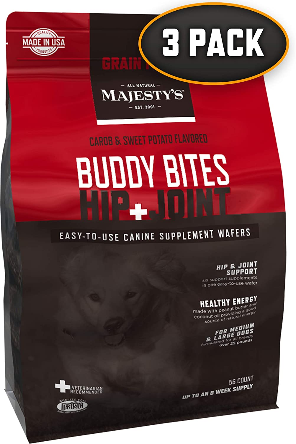 Majesty's Hip+Joint Grain-Free Buddy Bites - 56 Count, Medium/Large Dog - Bones, Joints & Cartilage Support Supplement - Carob/Sweet Potato Flavored - Glucosamine, Chondroitin - Mobility & Pain
