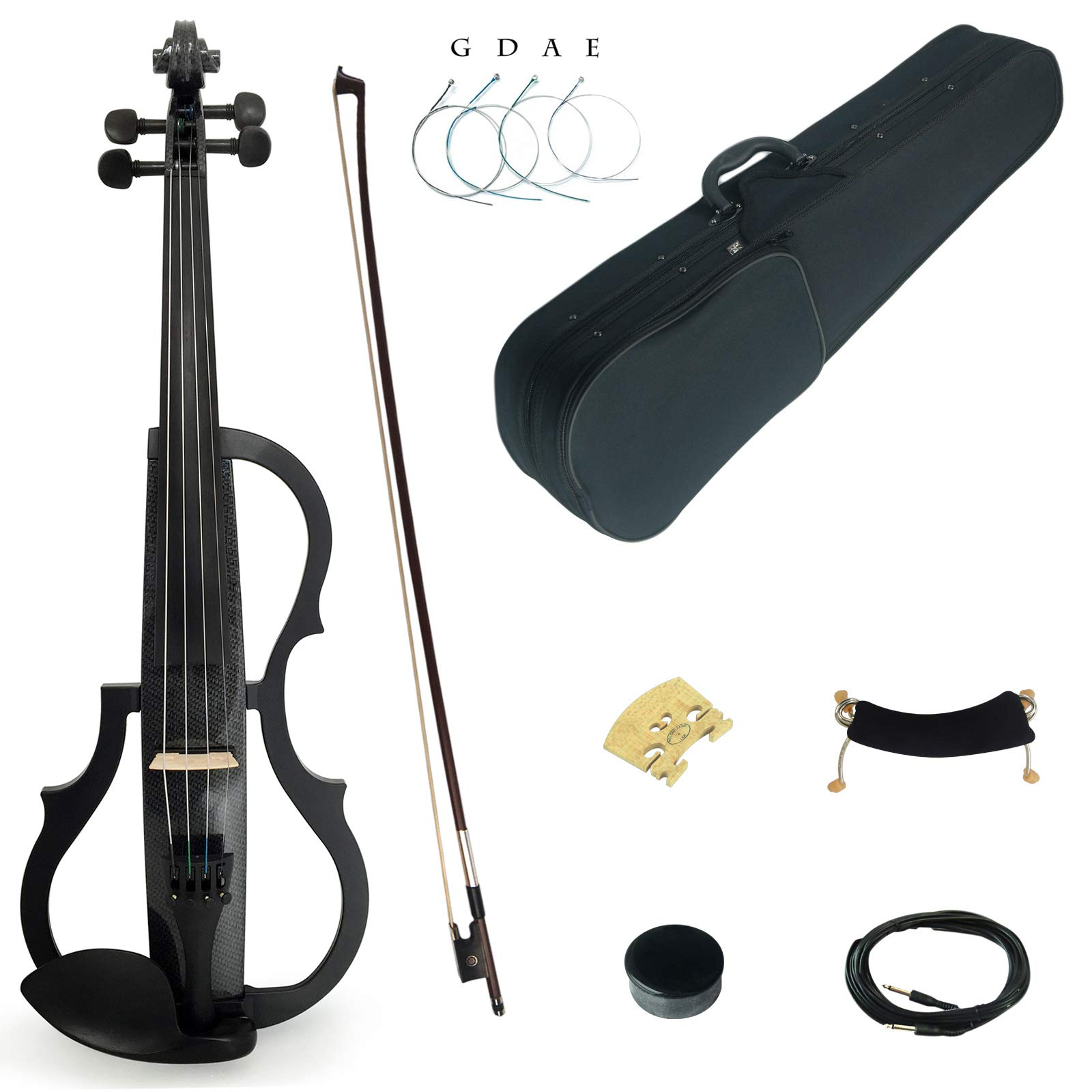 Kinglos 4/4 Black Grid Colored Solid Wood Advanced 3-Band-EQ Electric/Silent Violin Kit with Ebony Fittings Full Size (SDDS1311) by Kinglos