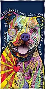 Dawhud Direct Dean Russo Beware of Pit Bulls They Will Steal Your Heart Cotton Beach Towel