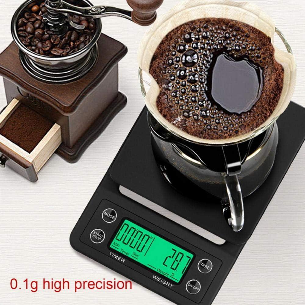 3kg / 0.1g 5kg / 0.1gBilanciaantigocciacon timer Bilancia da cucina digitale portatile Bilancia elettronica LCD ad alta precisione-Black_5kg_0.1g 7kg 1g