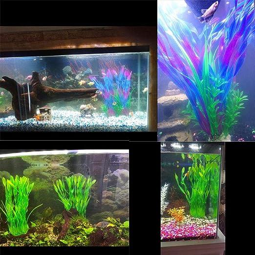lele Plantas de acuario grandes Plantas de plástico artificial ...