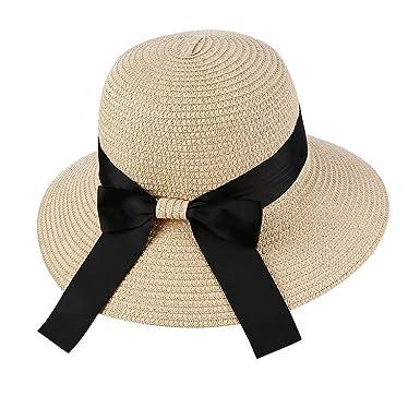 14203de83bbb5 diffstyle Women Bowknot Straw Hat Summer Sun Hat Floppy Beach Cap Bucket Hat  (Beige)