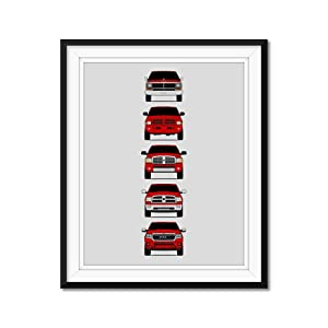 Dodge Ram Pickup Truck Generations Inspired Poster Print Wall Art Handmade Decor of the History and Evolution of the Ram 1500 2500 3500