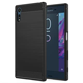 Sony Xperia XZ/XZs Case, MoKo Flexible TPU Bumper Slim Fit Case Carbon Fiber Design Lightweight Shockproof Back Cover for Sony Xperia XZ (2016) / XZs (2017) 5.2 Inch, Black