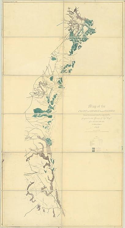 Map Of Georgia And Florida Coast.Amazon Com Historic Map Georgia And Florida 1862 Map Of The