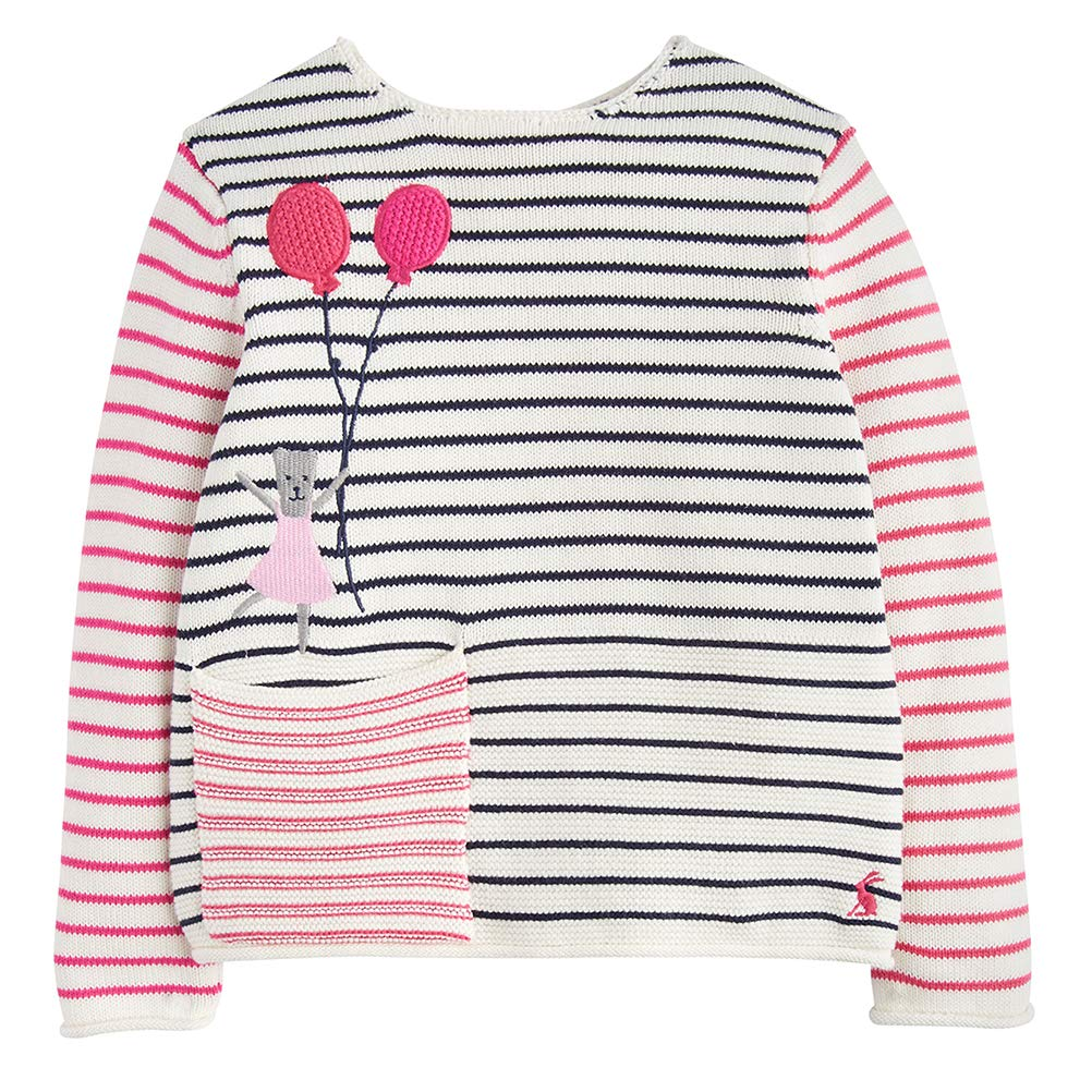 Joules Intarsia Jumper Stripe Balloon Bear