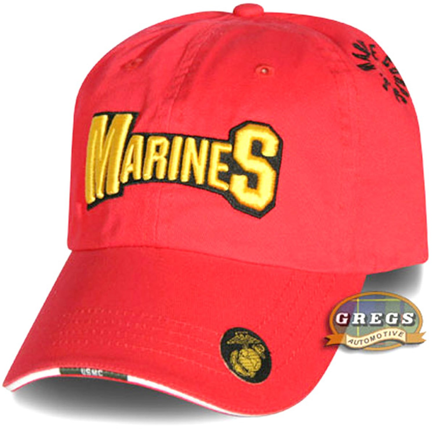 Gregs Automotive Marines Hat Cap Red Flag Decal Bundle