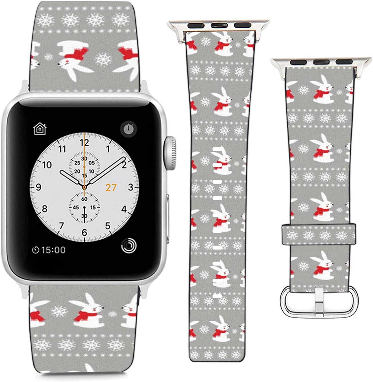 Compatible with Apple Watch Wristband 42mm 44mm, (Cute Baby Bunny Rabbits with Snowflakes Pattern) PU Leather Band Replacement Strap for iWatch Series 5 4 3 2 1