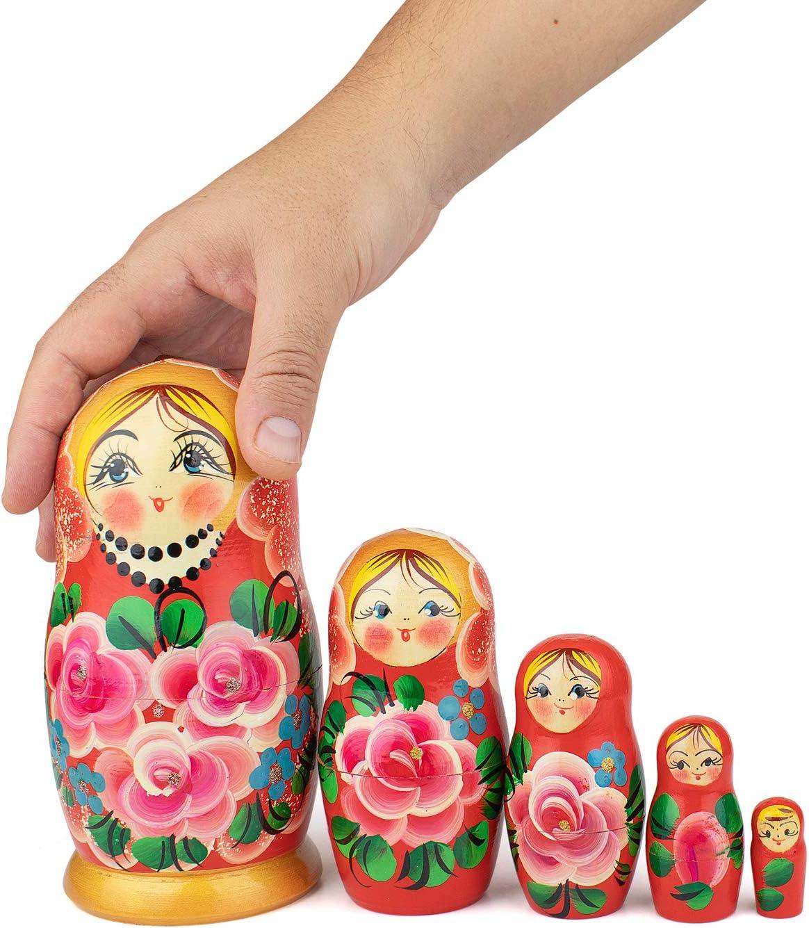 5 Poup/ées Matriochka Style Biryuzovaya Poup/ées en Bois Babushka Biryuzovaya 5 Pi/èces Fille avec Un Motif Doiseau Heka Naturals Poup/ées Gigognes Russes 18 cm Fabriqu/é A La Main en Russie
