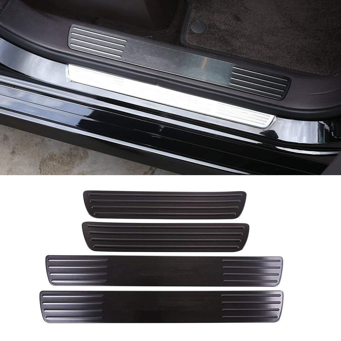 Pegatinas de acero inoxidable con decoración interior de carbono para umbral de puerta, accesorios para ML W164 W166 2012 – 2017 (no apto para pareja) accesorios para ML W164 W166 2012 - 2017 (no apto para pareja) Luxuqo
