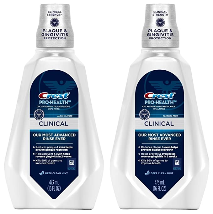Crest Pro-Health Clinical CPC Antigingivitis/Antiplaque Oral Rinse Deep Clean Mint, Clean Mint 473 ml (Pack of 2)