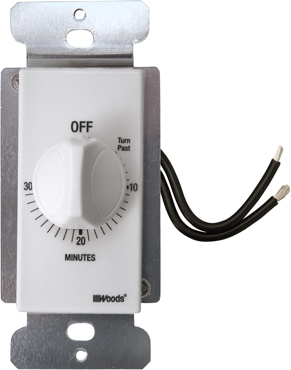 Woods 59714 In-Wall 30 Minute Spring Wound Timer, White