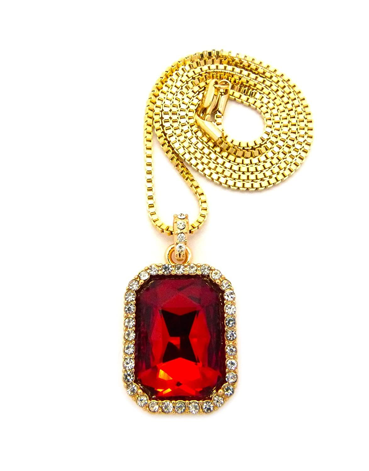 Mens hip hop iced out bird man rich gang red ruby pendant gold chain mens hip hop iced out bird man rich gang red ruby pendant gold chain necklace amazon jewelry aloadofball Gallery
