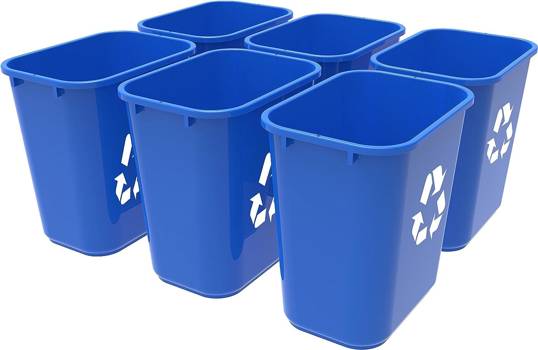 Amazon Com Storex Medium Recycling Basket 15 X 10 5 X 15 Inches Blue Case Of 6 Stx00714u06c Office Products