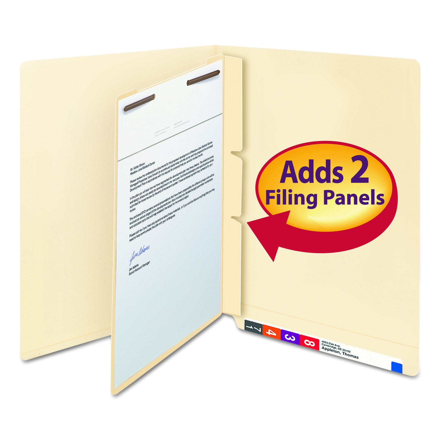 Smead 68027 Manila Self-Adhesive End/Top Tab Folder Dividers, 2-Sections, Letter (Box of 100) by Smead