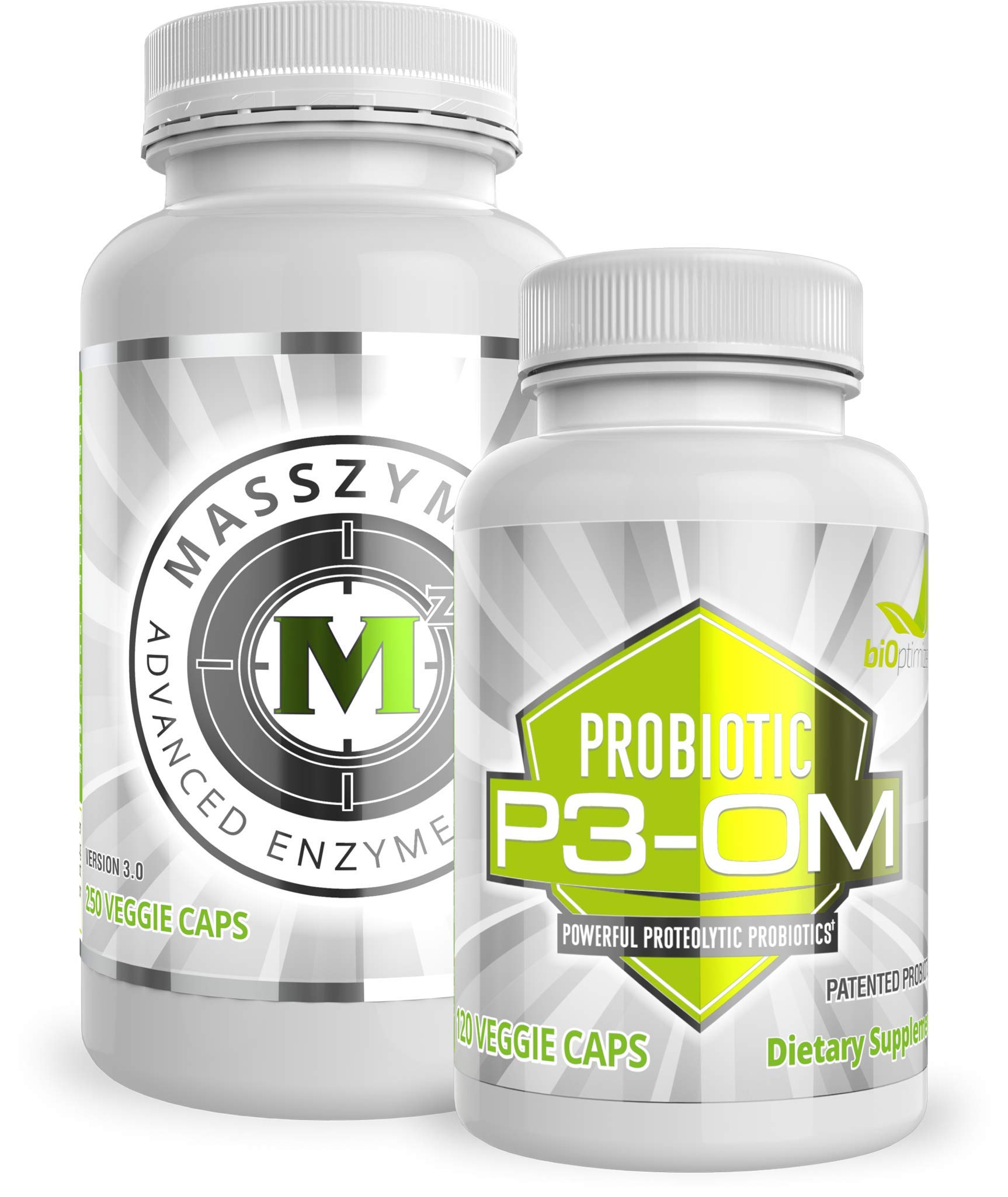 BiOptimizers - P3-OM and MassZymes Bundle - Premium Digestive Enzymes and Best Probiotics for Women and Men - Doctor-Formulated (250 MassZymes Capsules, 120 P3-OM Capsules)