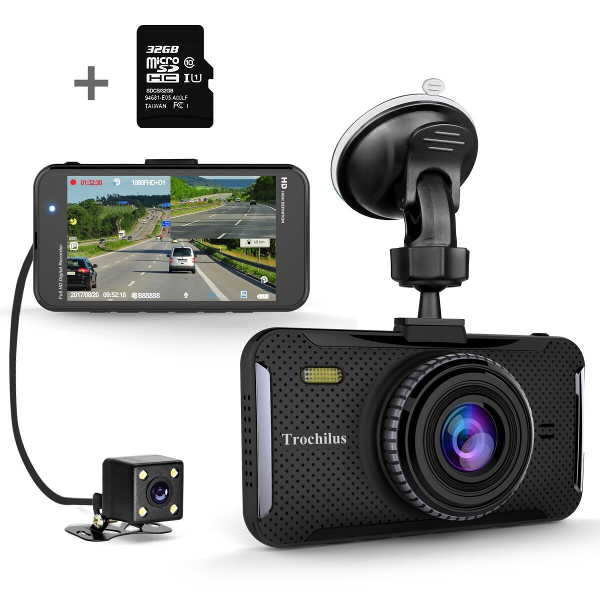 Trochilus Dual Dash Cam 4'' 1080P Front and Rear Dash Cams, 170 Degree Wide Angle Car Camera with G-Sensor, WDR, Loop Recording, Parking Monitor, Motion Detection, 32GB SD Card including