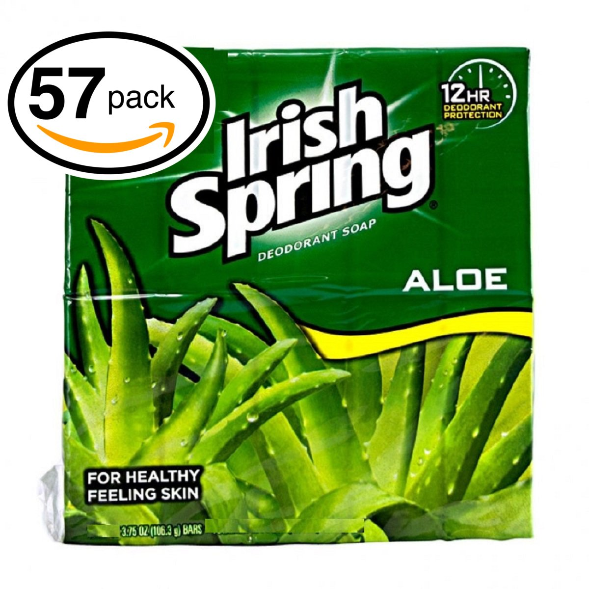 Irish Spring Deodorant Soap (57 Bars, 3.75oz Each Bar, Aloe)