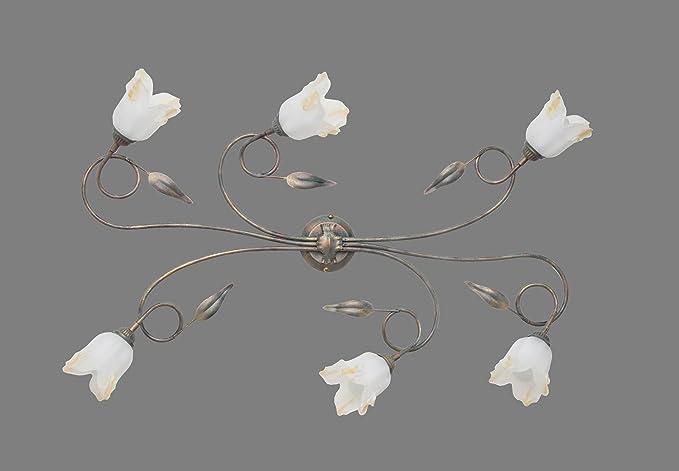 Plafoniere Ferro Battuto Da Esterno : Made in italy silvia plafoniera lampada a soffitto ferro