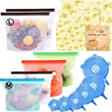 15 Pack Beeswax Wrap & Silicone Food Storage Bag & Silicone Stretch Lids, Eco-Friendly Reusable Food Wraps and Covers…