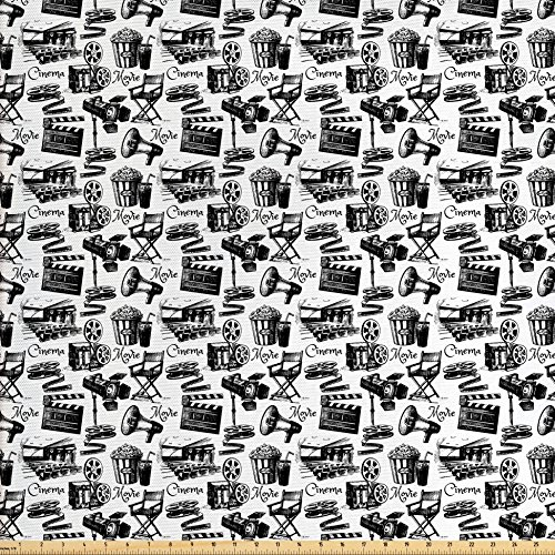 State Window Film - Ambesonne Movie Decor Fabric by The Yard, Vintage Artful Film Cinema Icons Motion Lighting Camera Action Record Graphic, Decorative Fabric for Upholstery and Home Accents, Black White