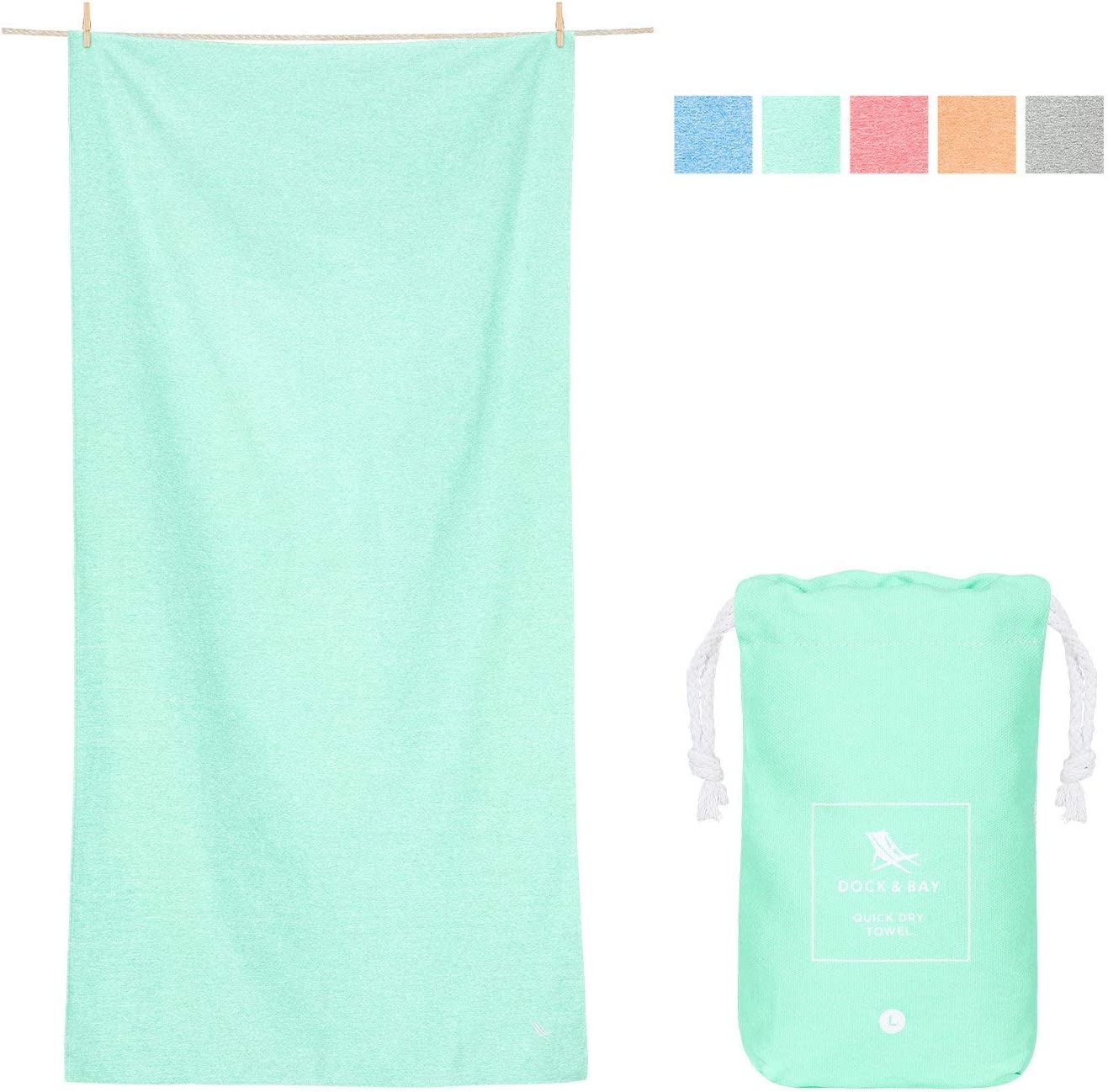 Dock & Bay Compact Sports Towel for Swim - Rainforest Green, 63 x 31 - Fitness, Shower & Travel - Fast Dry, Compact, Lightweight