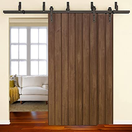 WINSOON 11ft Bypass Barn Door Hardware Sliding Kit 4 16FT For Interior  Exterior Cabinet Closet
