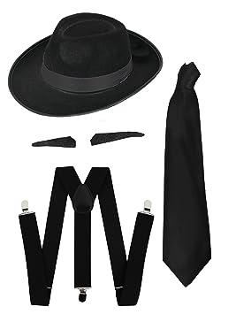 Chapeau de gangster noir et ruban noir style années 1920 avec les bretelles  + la cravate