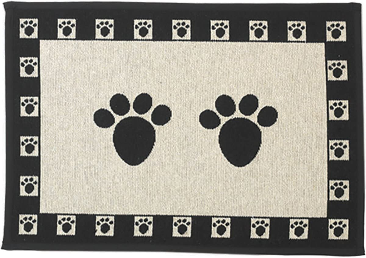 PetRageous 12049 Paws Jumbo Tapestry Dog and Cat Non-Skid Machine Washable Placemat for Pet Feeding Areas with Rubber Backing 18-Inch by 28-Inch for Dogs and Cats, Black and Natural