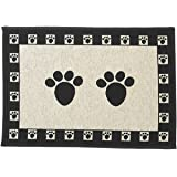 "PetRageous Paws Tapestry Mat Feeder, Large/28"" x 18"", Natural/Black"