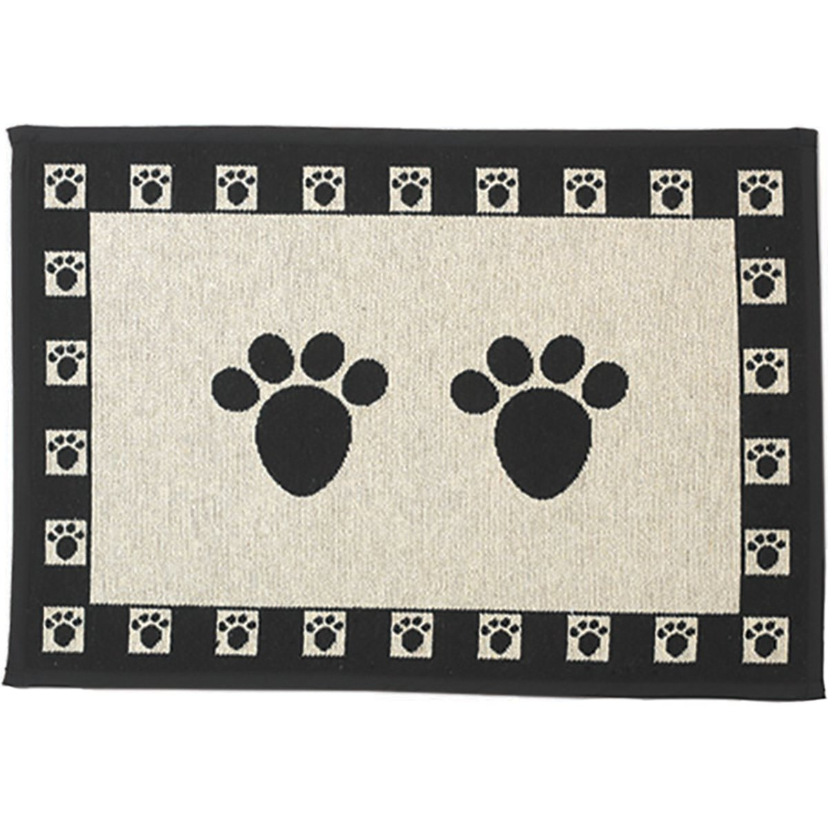 PetRageous Paws Tapestry Mat Feeder Large 28 x 18 Natural Black