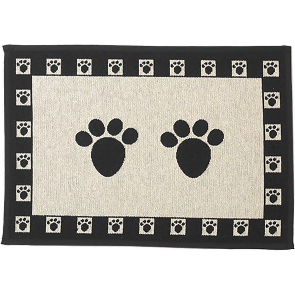 Pet Rageous Paws Tapestry Mat Feeder, Large/28'' x 18'', Natural/Black