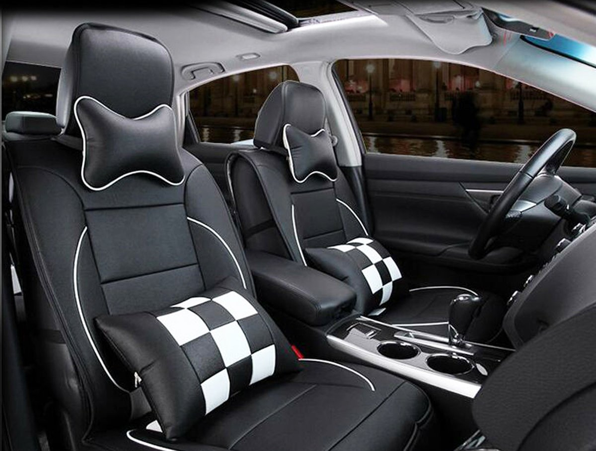 MOEBULB PU Leather Front Rear Car Seat Cushion Cover 10pcs Full Set for Chevrolet Chevy Aveo Camaro Caprice Captiva Colorado Corvette Cruze Lacetti Lova Malibu