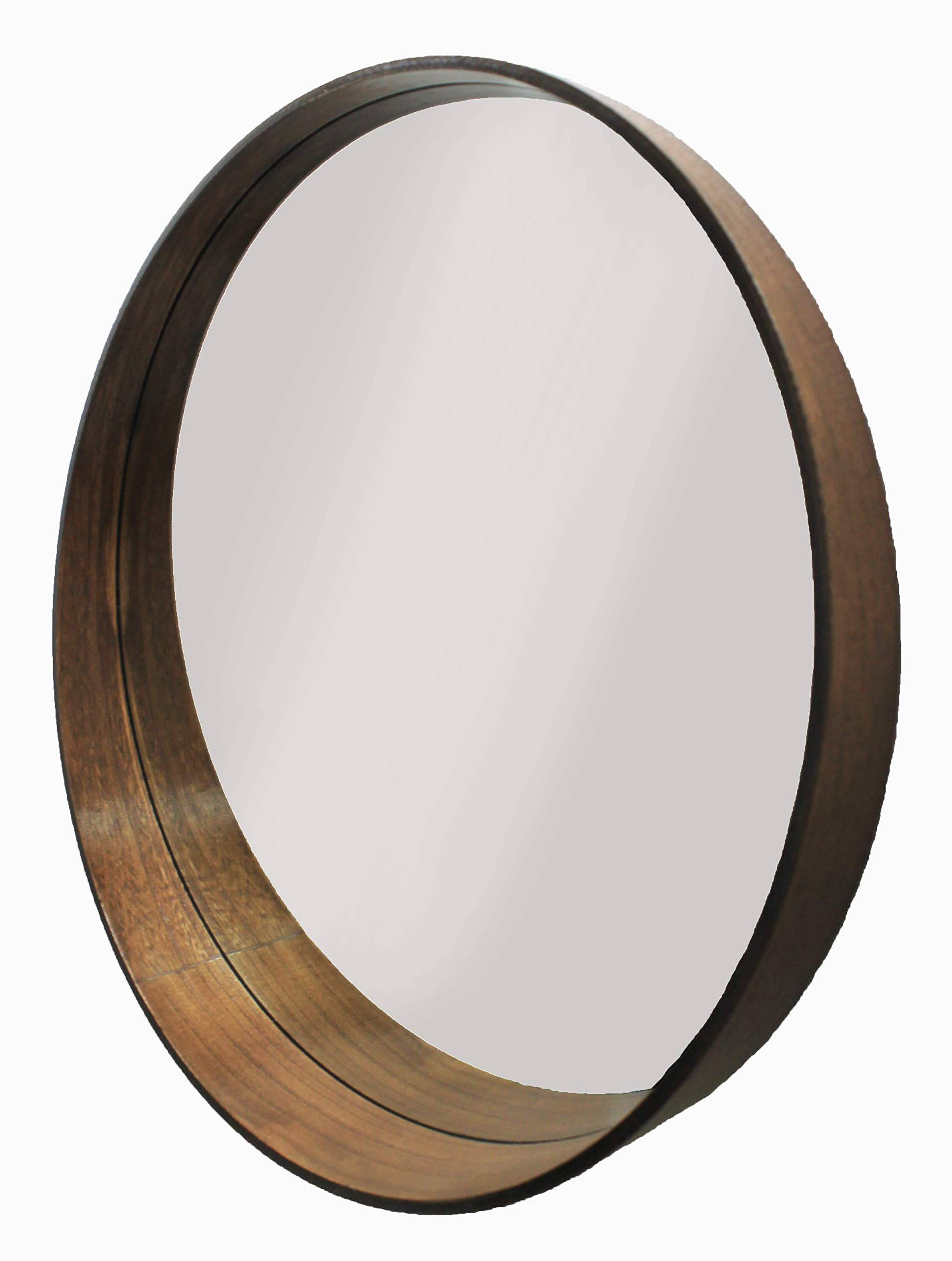 Modern Living Home Round Wood Mirror With Wide Bottom Lip Circle Mirrors Wall Decor For Bathroom Large Wooden Frame Round Farmhouse Mirror For Threshold Vanity Accent Dark Wood 24 Inch