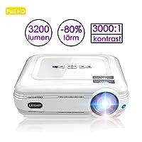 1080p HD beamer, 3200 lumen LCD Video projector 3000:1 contrast ondersteuning Computer/USB/VGA/HDMI/AV/TV voor Xbox/iOS/Android/PC