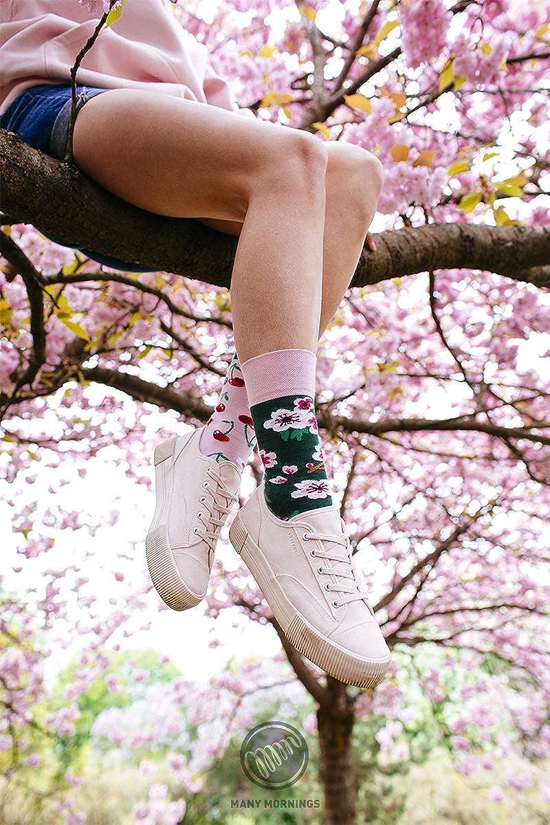primavera piante fiori alberi Many Mornings Cherry Blossom Calze multicolori con motivo ciliegio