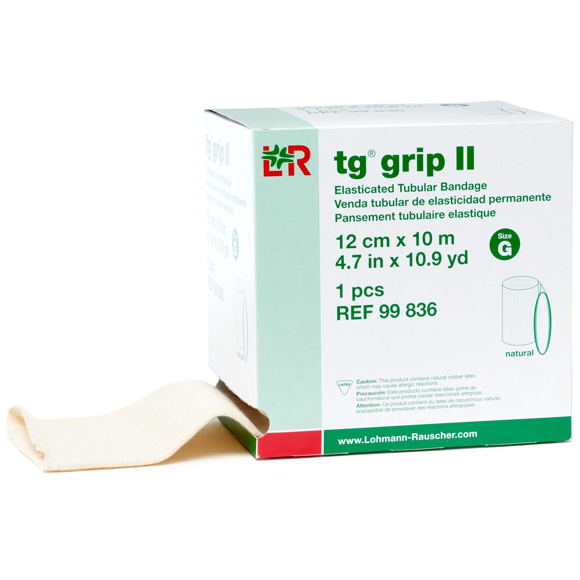 tg Grip II Elastic Tubular Compression Bandage, Seamless Tube Stockinette Wrap for Retention, Lymphedema, Swelling, Natural, Size G