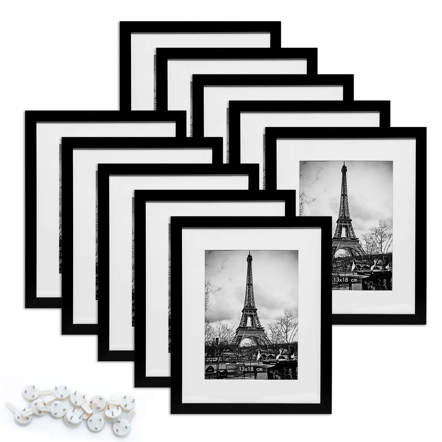 upsimples 8x10 Picture Frame with Mat Set of 10,Black Picture Frames for Wall or Tabletop Display,Gallery Wall Frame Collage