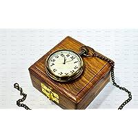"""Antique Look Brass Globe Pocket Watch 2"""" Unique Gift"""