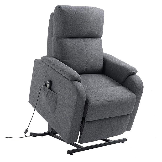 CARO-Möbel Fernsehsessel Retire Relaxsessel Ruhe TV Sessel mit elektrischer Liege- und Aufstehfunktion in grau