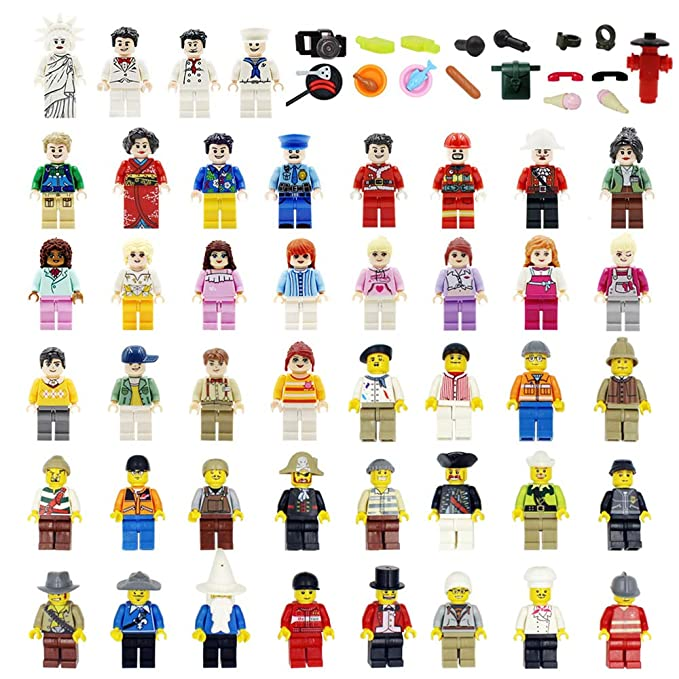 Maykid Minifigures Set of 48+22 Includes Building Bricks Community People with Figures Accessories