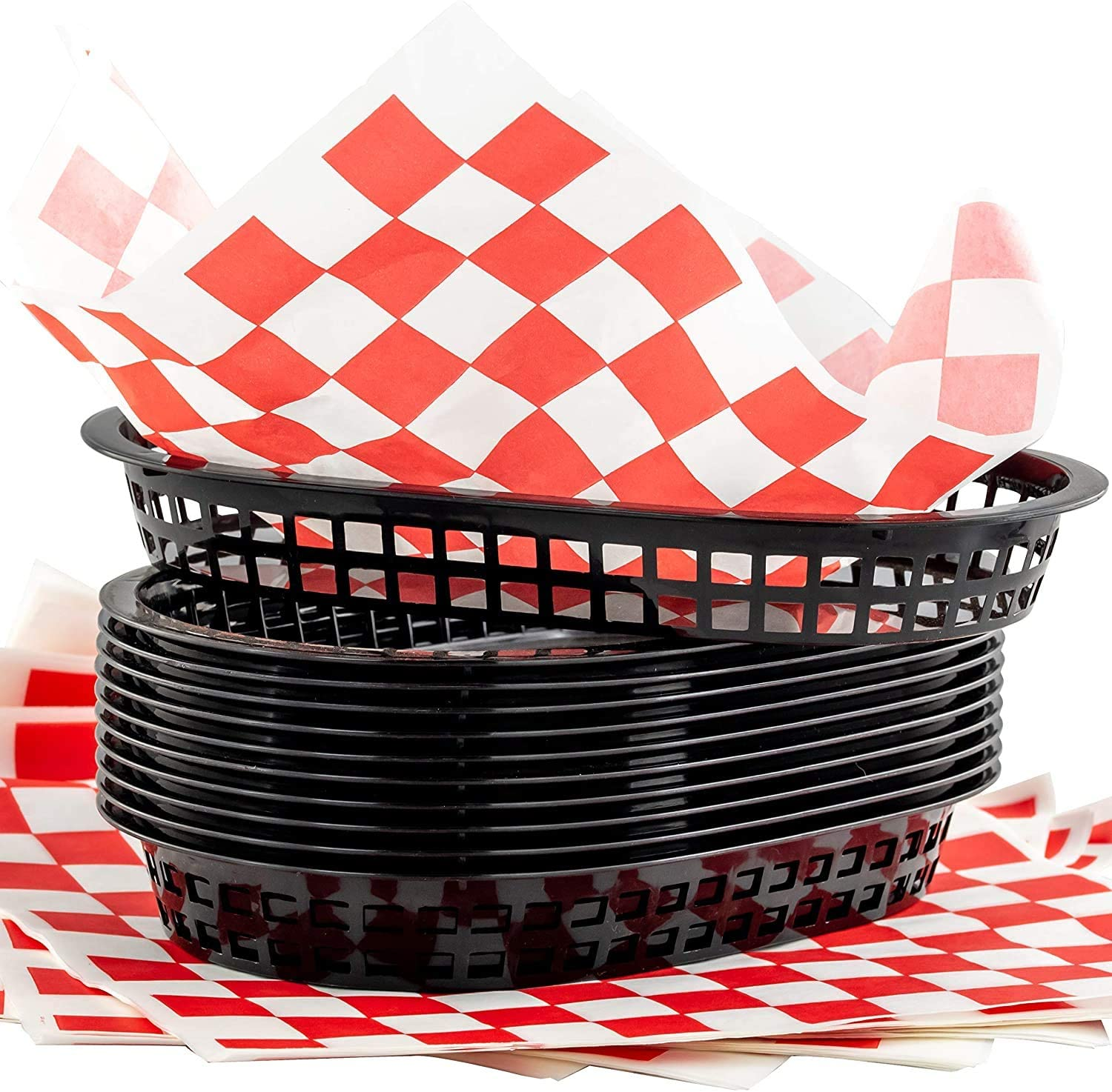 Black Fast Food Basket (6 Pk) and Red Checkered Deli Liner (60 Pk) Combo Pack