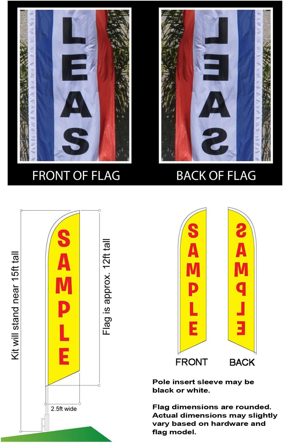 BLOW OUT SALE Swooper Half Curve Advertising PREMIUM WIDE Flag